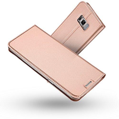 RADOO Galaxy S8 Hülle,Galaxy S8 Lederhülle, Premium PU Leder Handyhülle Brieftasche-Stil Magnetisch Klapphülle Etui Brieftasche Hülle Schutzhülle Tasche für Samsung Galaxy S8 (Rose Gold)