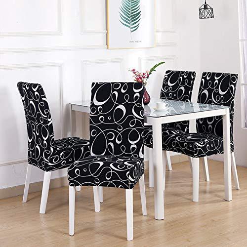 BJHSYNDR Esszimmerstühle Bezüge 2/4 / Pcs Blumendruck Geometrische Küchenstuhlbezüge Spandex Elastic Stretch Dekoration Stuhl Esszimmer Sitzkissen Anti Dirty