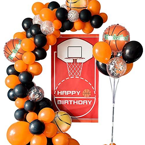 MMTX Kit Guirnalda Globos, 73 Piezas Guirnalda de Arco de Látex Globos, Decoraciones para Fiestas de Baloncesto para Niños y Fanáticos del Baloncesto