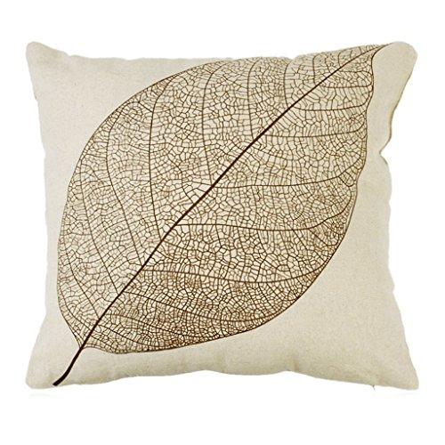 SODIAL hoja de algodon de vendimia de ropa de cama cuadrada sofa-cama decoracion almohadilla de tiro de la caja funda de cojin de color beis