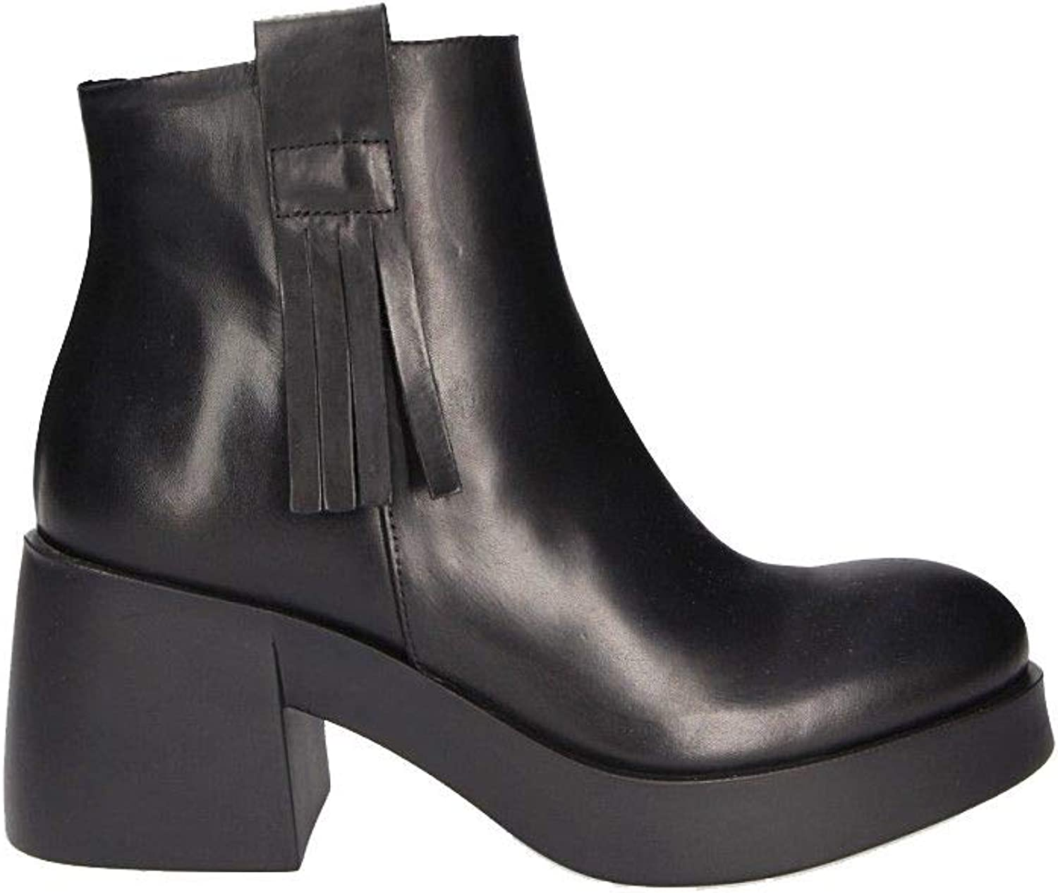 MOHAI Women's 8454NBLACK Black Leather Ankle Boots