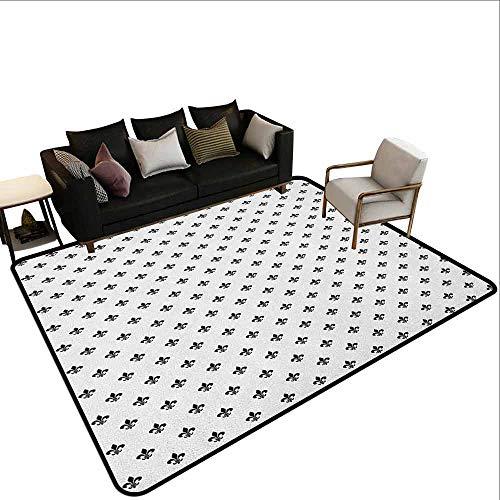 MsShe Zwembad anti-slip tapijt Fleur De Lis,Geometrische Rhombus Arrangement Westerse Cultuur Koninklijke Lelie Patroon, Robijn Geel Wit