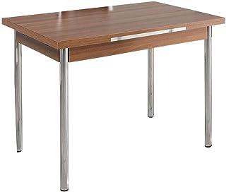 Table de cuisine OMAC - Table de salle à manger et salon - Marron et bois de racine - Pieds chromés - Extensible - 110 x 7...