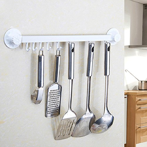 FUMUD Aluminium Alloy Powerful Suction Kitchen Utensil Rack 8 Hanger Hooks Holder Wall