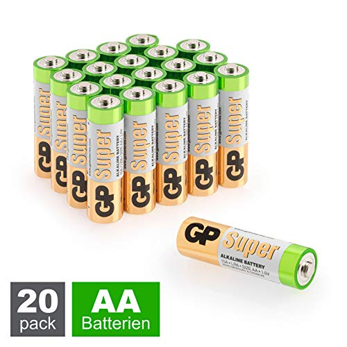 GP Batterien AA (Mignon, LR6) 1.5V, 20 Stück Mignon Batterien im Vorratspack, Super Alkaline Longlife Technologie