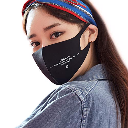 LOOKA | Protective Fashion Air Mask | Washable and Reusable | LOVERS Black (Medium)