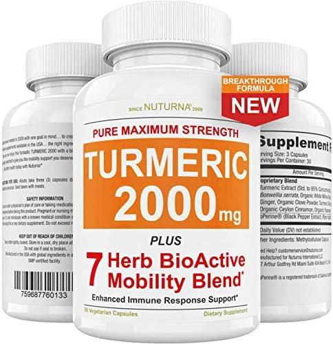 Turmeric Curcumin 2280mg Supplement Capsules with BioPerine Black Pepper Highest Potency Premium product image