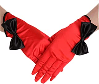 Short Satin Gloves with Bowknot, Women's Wrist Length Opera Wedding Banquet Dress Glove for Party Bridal,Red