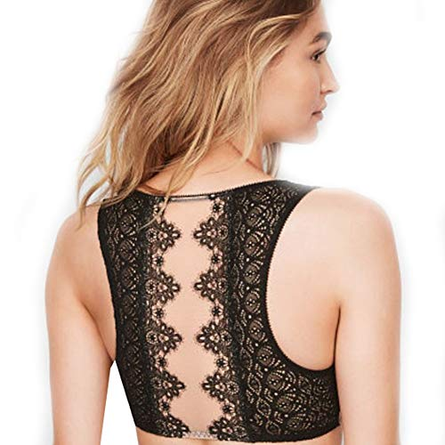 Victorias Secrets Dream Angels Mesh Chantilly Lace Plunge Bralette X-Large Black