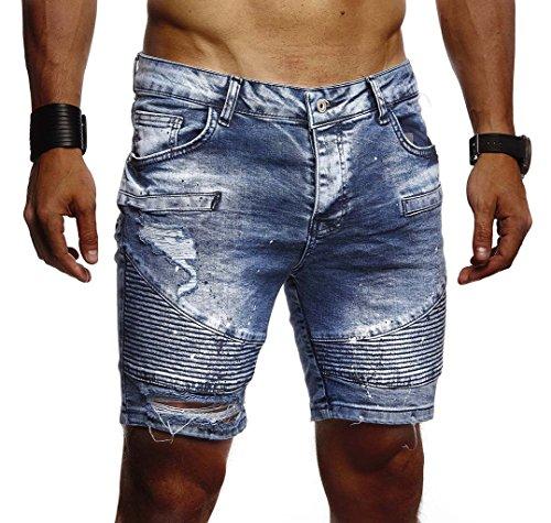 Leif Nelson Herren Männer Jungen Sommer Kurze Biker Jogger Jeans Hose Shorts Jeanshose Chinos Cargo Bermuda Basic 5-Pocket Destroyed Used Stretch Freizeithose Denim Slim Fit LN1663; W30; Blau