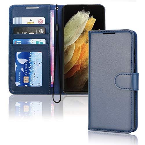 TECHGEAR Funda Compatible con Samsung Galaxy S21 Ultra - Magnético Carcasa Protectora de Cuero con Ranuras para Tarjetas, Soporte y Correa de muñeca - Polipiel para Samsung S21 Ultra Funda (Azul)