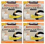 Kirkland Signature awe Compactor Bags, 18 Gallon, Smart Fit Gripping Drawstring, 4 Pack (70 Count)