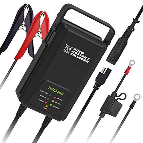 Boltpower 6V 12V 1250mA Auto Sensing Trickle Battery Charger Maintainer for Cars, Motorcyle, Lawn Mower, Club Cart, Atv and more Vehicle with AGM, GELL CELL Lead Acid Batteries