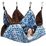 MQUPIN Hamaca para Mascotas, 2 Capas Hamster Hamaca Animales Pequeño con 4 Ganchos, Hamaca pequeña para Mascotas cálida Cama Colgante para Hurones/Ardillas/Otros Animales pequeños (Azul)
