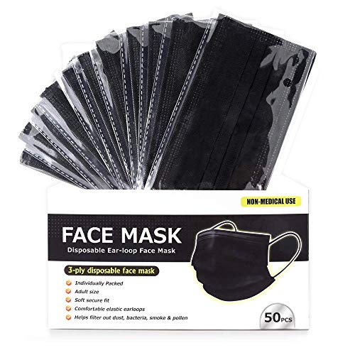 50 PCS Black Disposable Face Mask 3 Layer Anti-Dust Earloops Protective Cover Mask