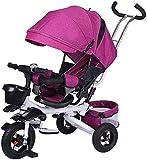 LYXY Trolley de Triciclo for niños Plegable1-3-6 años de Edad for niños Bicicleta for bebé Bicicleta de bebé,Canasta de Almacenamiento Trasero Grande,Pedal de pie Plegable for niño y niña