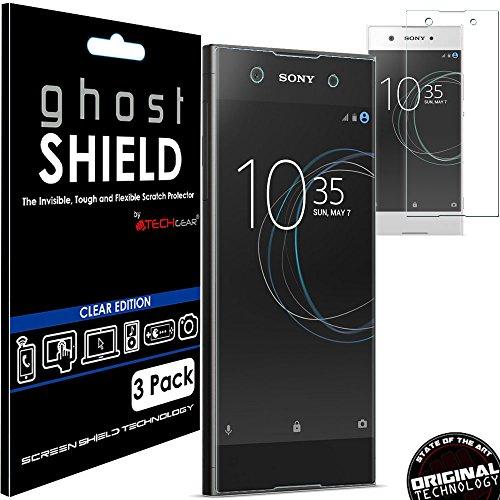 TECHGEAR [3 Stück Displayschutz Kompatibel mit Sony Xperia XA1 - [ghostshield] Genuine verstärkte TPU Displayschutzfolie Guard mit Gesamte Bildschirm Deckung inkl. Gebogener Bereich