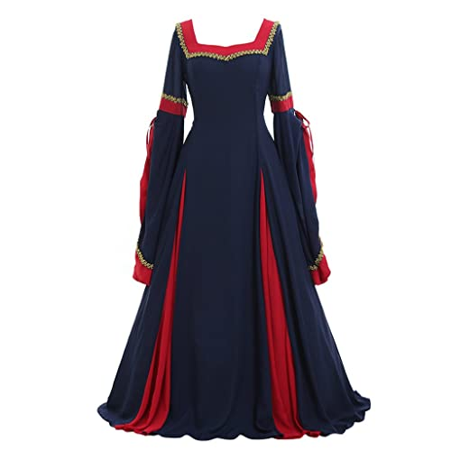 8220065cde6e CosplayDiy Women's Guinevere Navy Blue-Bordeaux Victorian Dress Costume