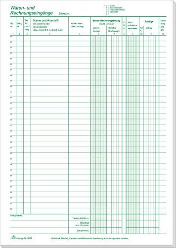 RNK 3010 - Waren- und Rechnungseingang - Block, 2 x 50 Blatt, DIN A4, mit Durchschreibepapier, mit Nummerierung, 1 Stück