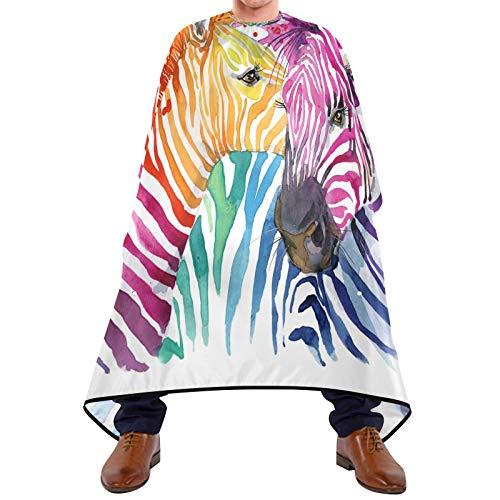 BGIFT Capa de peluquería de acuarela animal cebra corte pelo bata barba babero tela recortado delantal con ventosas accesorios de peluquería