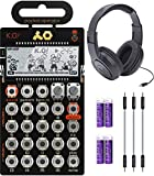 """Teenage Engineering PO-33 Pocket Operator KO Sampler/Sequencer Bundle with Samson SR350 Over-Ear Closed-Back Headphones, Blucoil 3-Pack of 7"""" Audio Aux Cables, and 4 AAA Batteries"""