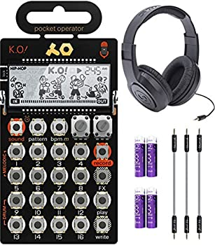 Teenage Engineering PO-33 Pocket Operator KO Sampler/Sequencer Bundle with Samson SR350 Over-Ear Closed-Back Headphones Blucoil 3-Pack of 7  Audio Aux Cables and 4 AAA Batteries