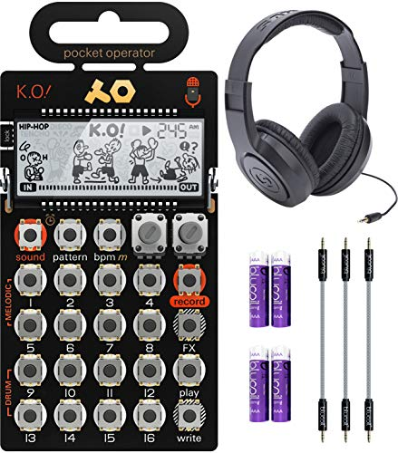Teenage Engineering PO-33 Pocket Operator KO Sampler/Sequencer Bundle with Samson SR350 Over-Ear Closed-Back Headphones, Blucoil 3-Pack of 7' Audio Aux Cables, and 4 AAA Batteries