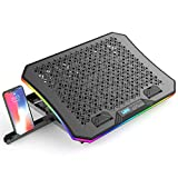 Vencci 2021 Upgrade Laptop Cooler Pad with 6 Cooling Fans for 15.6-17.3 Inch Laptops, Full RGB Lights 10 Modes, 7 Height Stands, 2 USB Ports in Right Side, Desk or Lap Use