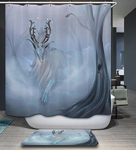 LAundNA Wasserdicht waschbar bedruckt Polyester Stoff Duschvorhang für Bad & Haken , 4 , 150*180cm
