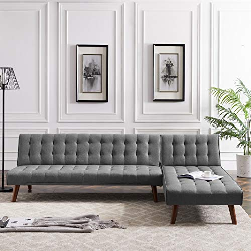 Rhomtree Reversible Section Sofa Couch Futon Sleeper Adjustable Back L Shaped Corner Fabric Sofa Set with Chaise Lounge for Living Room Apartment (Grey)