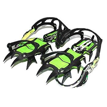 Tentock Crampons d'escalade en Plein Air en Acier Au Manganèse 14 Dents Antidérapantes Couvre-Chaussures Préhenseurs pour Chasse en Alpinisme(Type A-Longues Dents)