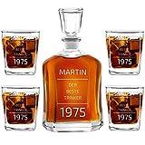 Murrano Whiskey Karaffe + 4er Whiskygläser Set mit Gravur - 700ml Whisky Dekanter - Geschenk zum Geburtstag für Männer - Der Beste Trinker