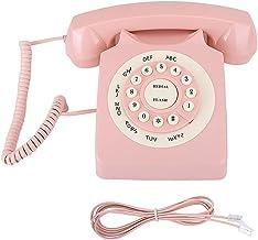 $28 » Retro Telephone Plastic Classic Vintage Telephone Wired Telephone Corded Landline Telephone Retro Wire Landline Phone Pink...