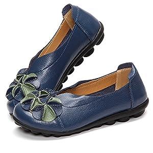 gracosy Donne Mocassini da Donna Primavera/Estate Vintage Fiori Fatto A Mano Pelle Scarpe Stile Loafers Comode Slip On…