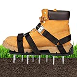 Lawn Aerator Shoes with 3 Universal Adjustable Buckle Straps+1 X-Strap,26 Nails Heavy Duty Spiked Sandals Loose Soil Garden Aerator,One Size Fits All for Aerating Lawn Soil Yard or Grass(Black)