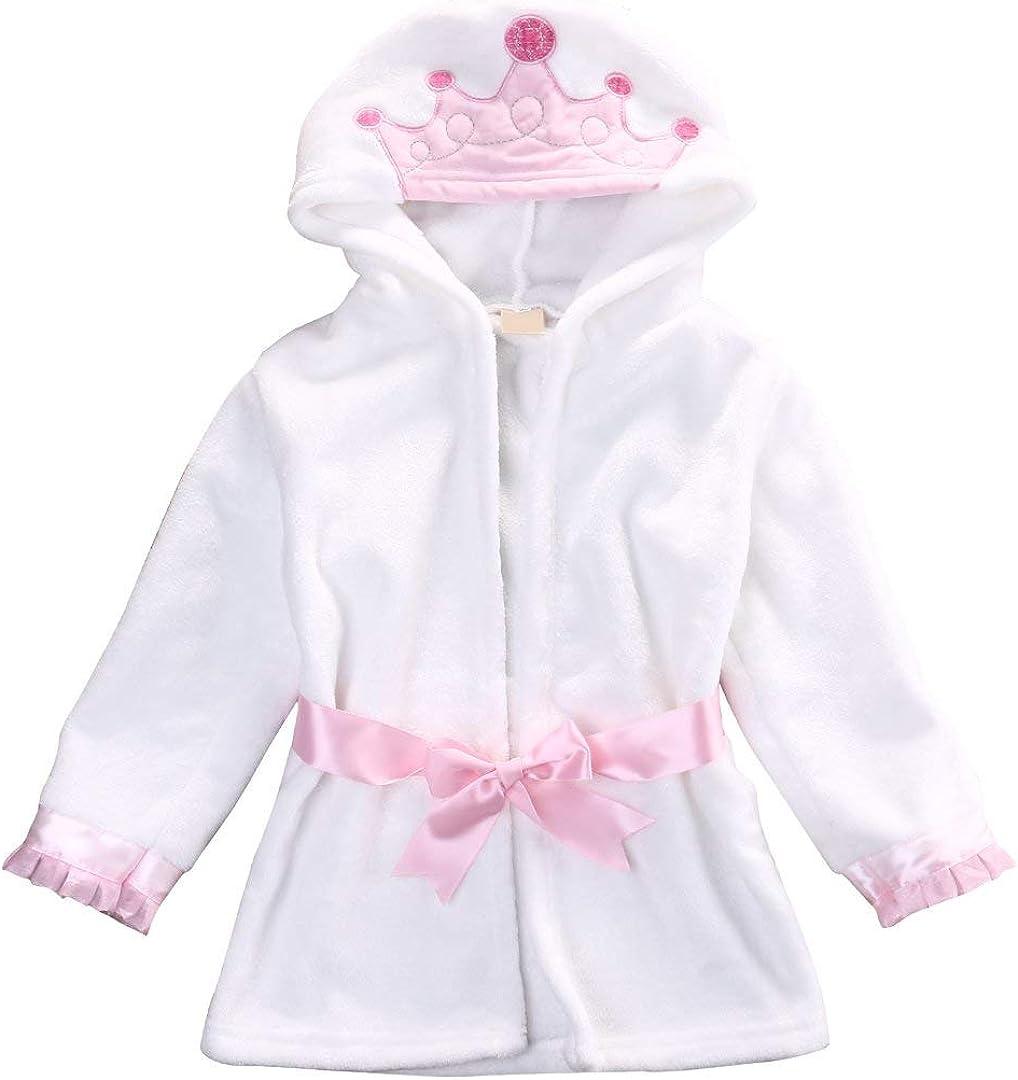 Memphis Mall Save money Cute Toddler Baby Boys Girls Bathrobe Coral Cartoo Cotton Fleece