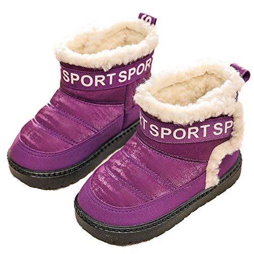 Raquetas de Nieve para niños y niñas Botas de Invierno cálidas sin Cordones Botines con Forro de Felpa de Moda Zapatos Planos sin Cordones Senderismo al Aire Libre
