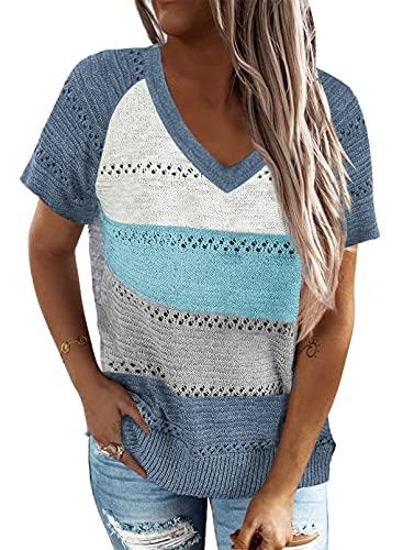 BLENCOT Maglia Donna Estiva Manica Corta Shirt Scollo a V Sport Casual Donna T-Shirt Cotone Donna Pullover Estate Donna Blu L