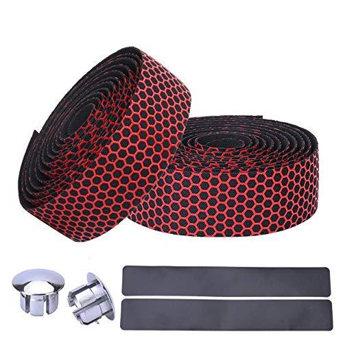 NO LOGO 1 Paar Anti-Rutsch-Rennrad Silikon Lenkerband Endstopfen Dreidimensionaler Gürtel Atmungsaktives Ultraleichtes Lenkerband (Farbe : Rot)