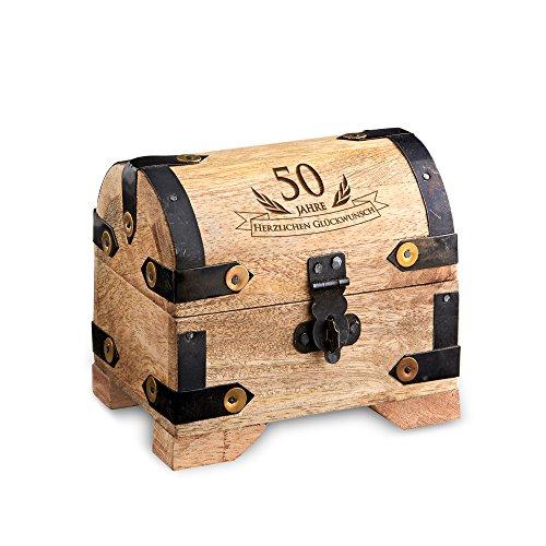 Casa Vivente Kleine Schatztruhe zum 50. Geburtstag, Schmuckkästchen mit Gravur, Aufbewahrungsbox aus hellem Holz, Verpackung für Geldgeschenke