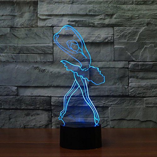 Bailarina 3D Illusion Lamp - Lámpara de decoración de tres patrones y 7 colores - Regalos perfectos para niños