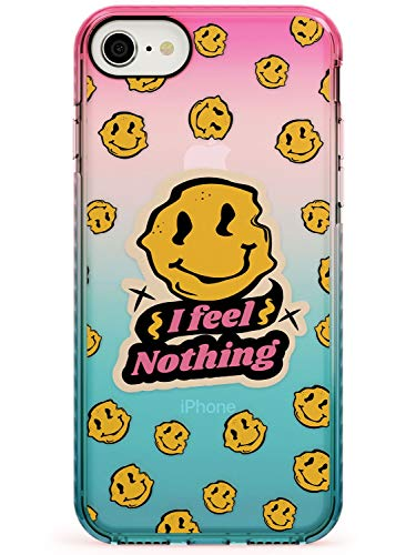 I Feel Nothing (Clear) Pink Impact Phone Case for iPhone 7 Plus, for iPhone 8 Plus | Protective Dual Layer Bumper TPU Silikon Cover Pattern Printed | Quirky Smiley Face Emoji Weird