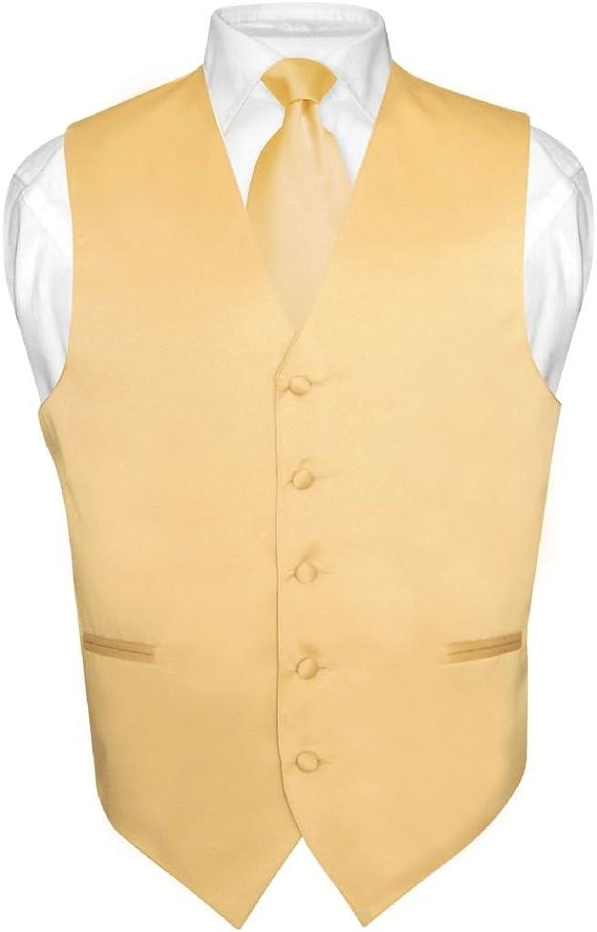 Men's Dress Vest & NeckTie Solid GOLD Color Neck Tie Set for Suit or Tuxedo