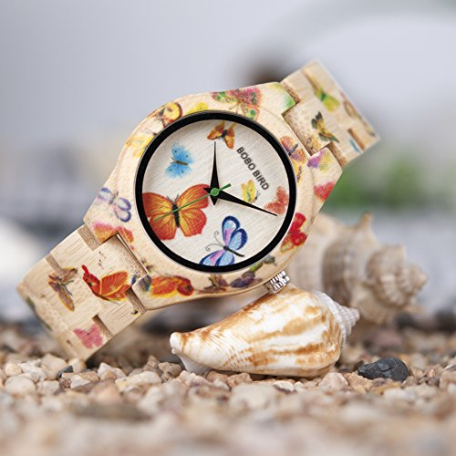 BOBO BIRD Women's Bamboo Watch Butterfly Engraved Handmade Wooden Casual Watches