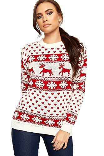 WearAll dam ren snöflinga långärmad festlig tröja damer jultröja 8-14