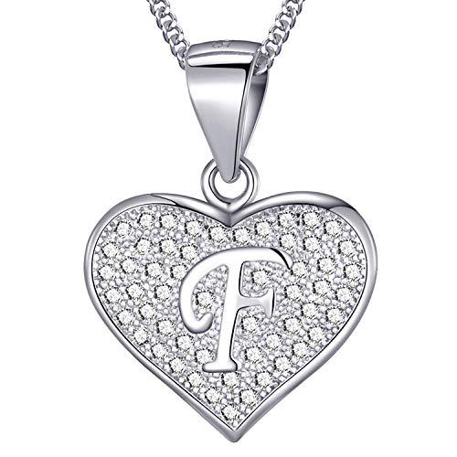MASADA Collana in Argento 925 - Ciondolo Lettera F a forma di cuore Iniziale con Pietre Zircone - Iniziali Nome per Donna Ragazza - Catena 46 cm Confezione Borsa in Velluto