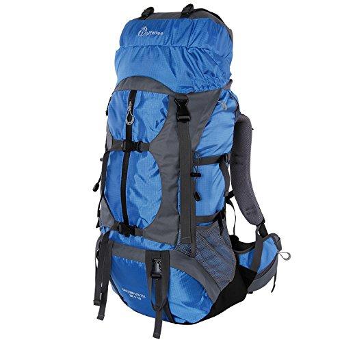 Syming Mochila Senderismo con Cubierta De Lluvia,para Aventura,Al Aire Libre,Viaje,Camping,Impermeable (55L+10L Azul)