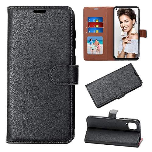 Für Huawei P40 Lite Hülle - Huawei P40 Lite Handytasche [RFID-Blocker] Flip Brieftasche Case PU Leder für P40 Lite Kartensteckplätze Magnetverschluss Standfunktion Kompletter(Schwarz)