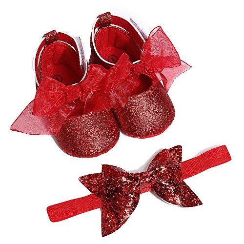Babyschuhe für 0-18 Monate, Baby Mädchen Bequeme Anti-Rutsch Prinzessin Kleinkind Schuhe Krabbel Hausschuhe mit 1 PC Stirnbänder Haarband