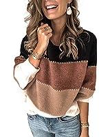 Kaei&Shi Color Block Sweater for Women Striped Colorblock Pullover Sweater Ballon Sleeve Knit Oversized Top Black Medium
